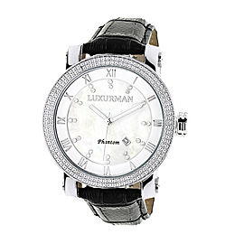 Luxurman Phantom 2142 Stainless-Steel Quartz .18ct Diamond White Mother Of Pearl Dial Mens Watch