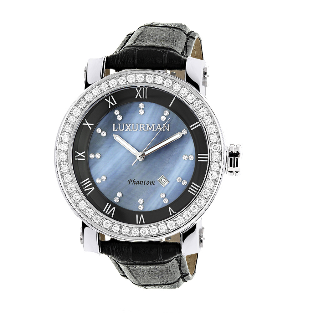 "Image of ""Luxurman Phantom 2185 Stainless-Steel Quartz 4ct Diamond Bezel Blue"""