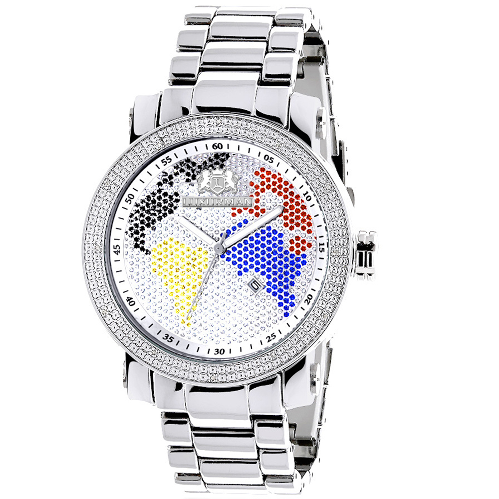 "Image of ""Luxurman Phantom 2205 Stainless-Steel Quartz 0.12ct Diamond White Dial"""