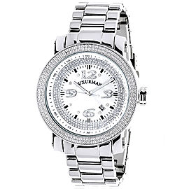 Luxurman Phantom 2208 Stainless-Steel Quartz 0.12 ct Diamond Iced Out White Dial Mens Watch