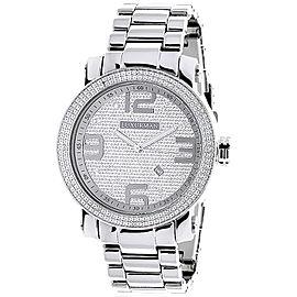 Luxurman Phantom 2209 Stainless-Steel Quartz 0.12 ct Diamond Silver Dial Mens Watch