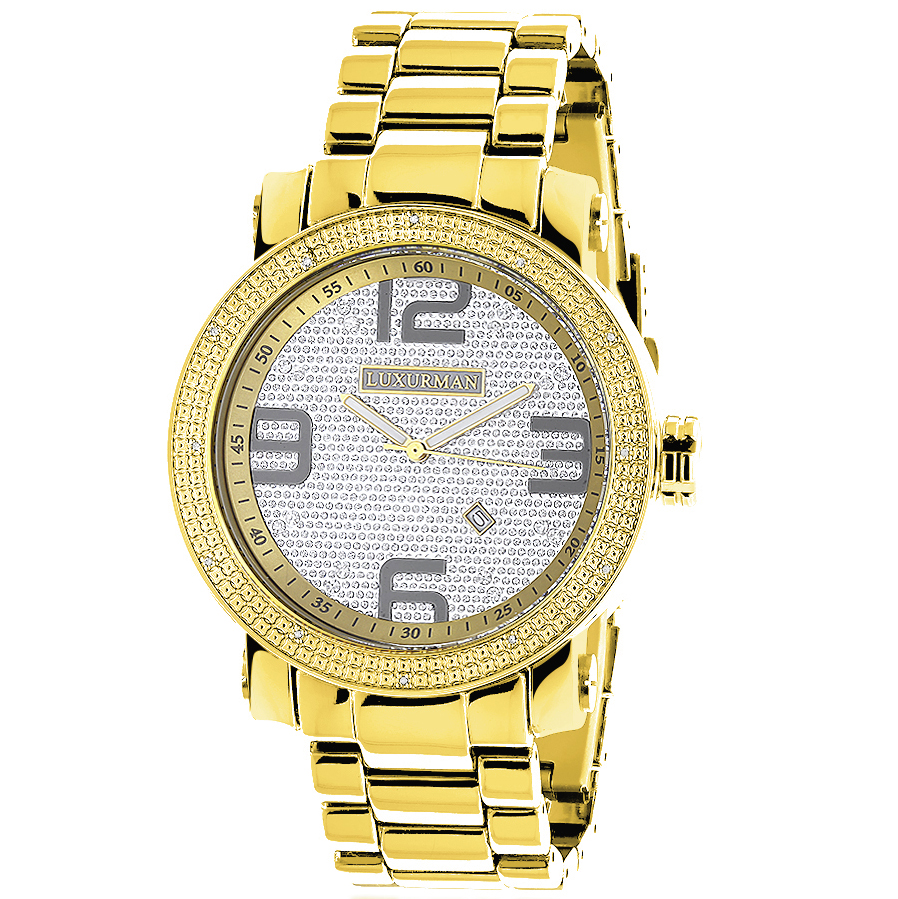 "Image of ""Luxurman Phantom 2203 Stainless-Steel Quartz .12ct Diamond Yellow Gold"""