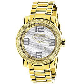 Luxurman Phantom 2203 Stainless-Steel Quartz .12ct Diamond Yellow Gold Plated Silver Dial Mens Watch