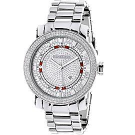 Luxurman Phantom 2207 Stainless-Steel Quartz 0.12ct Diamond Silver Dial Mens Watch