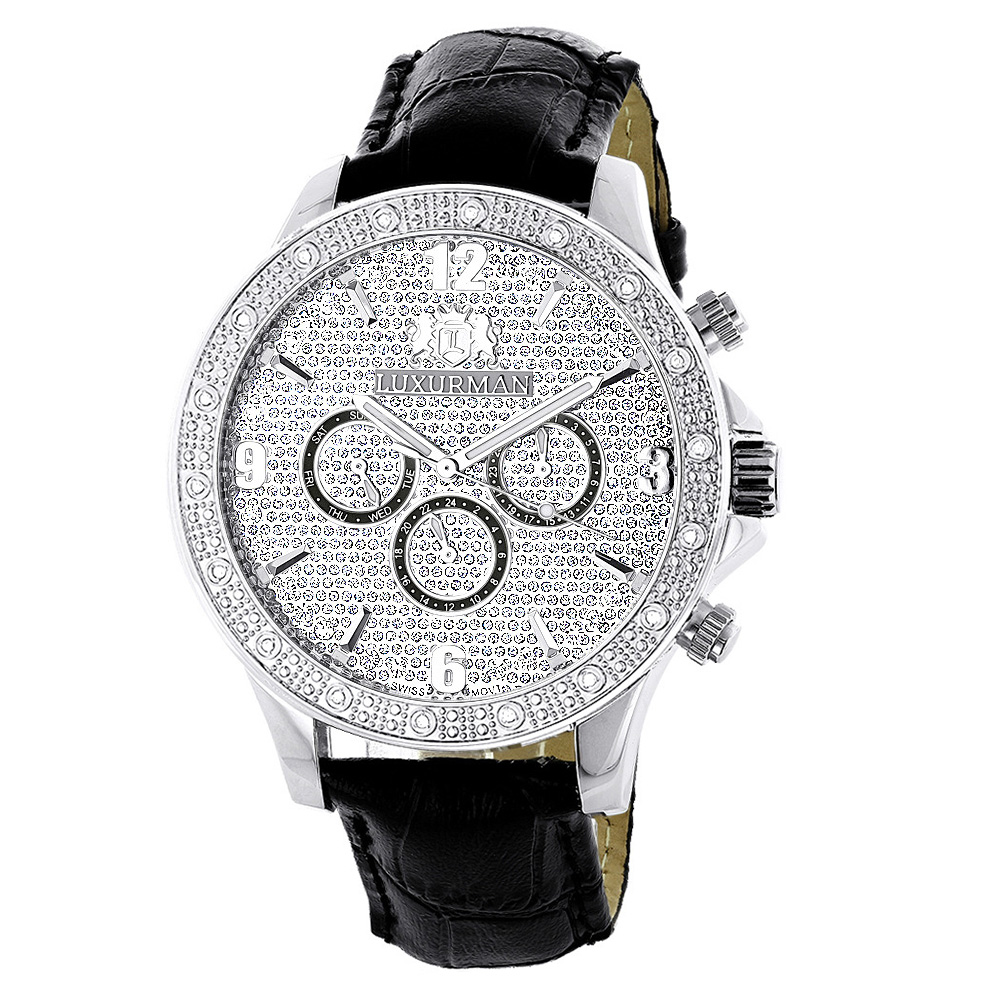 "Image of ""Luxurman Liberty 2224 Stainless-Steel Quartz 0.18ct Diamond White Dial"""