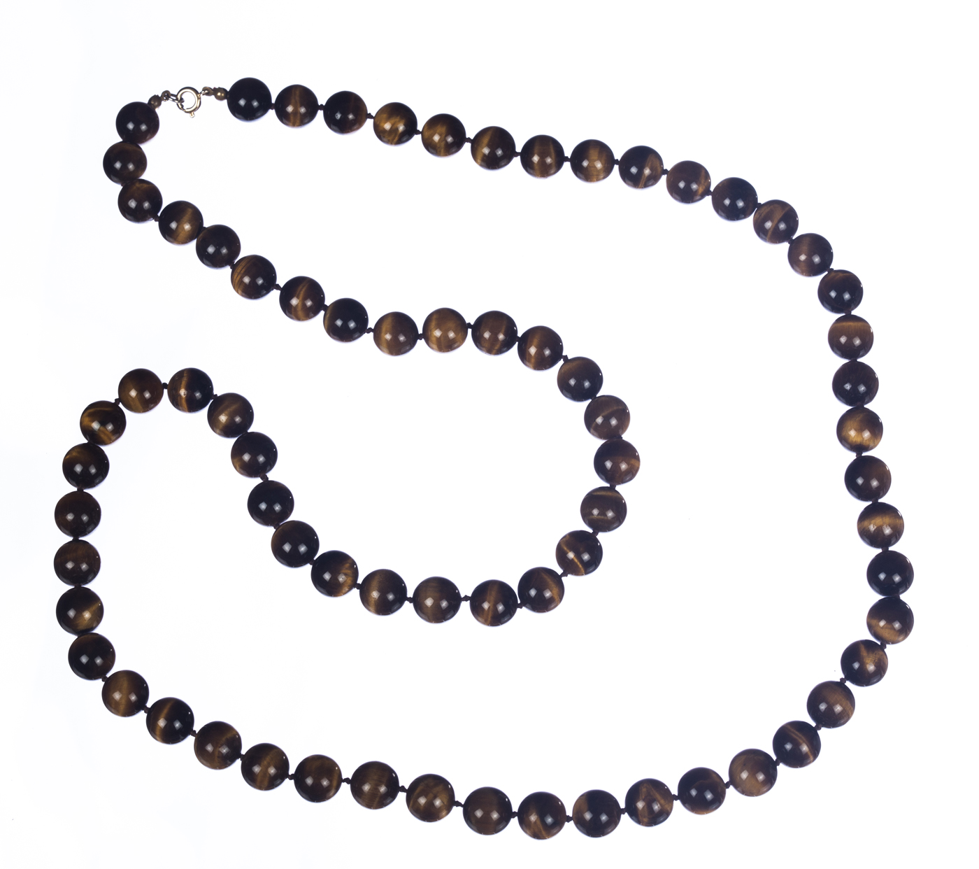 "Image of ""Large Tiger Eye Bead Flapper Necklace"""
