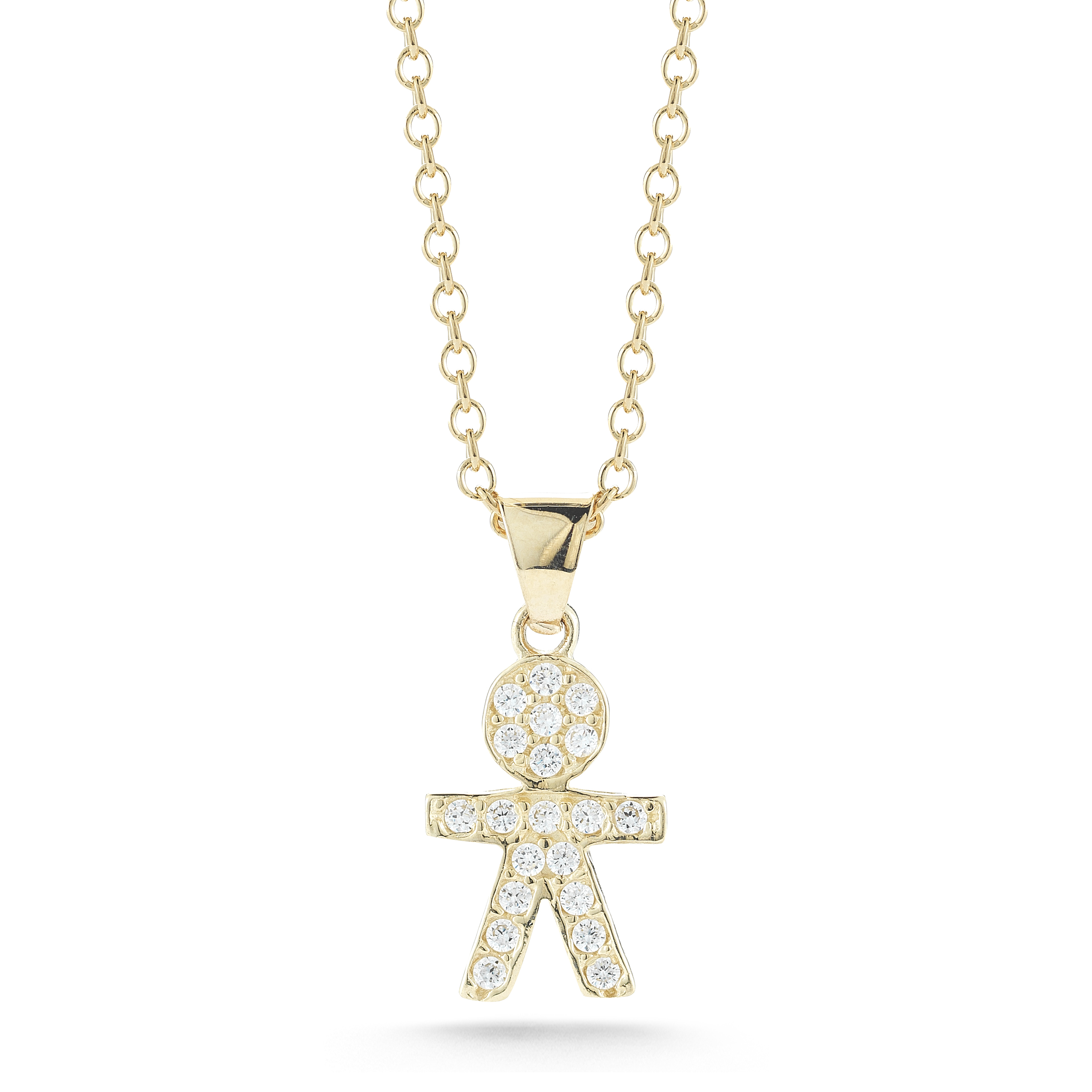 "Image of ""Low Gold Polish-finish Diamond Boy Pendant"""