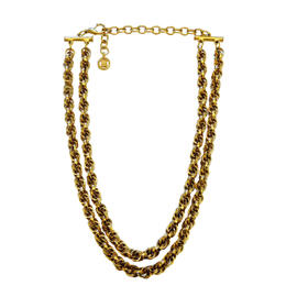 Vintage Givenchy Bold Gold Double Chain Necklace