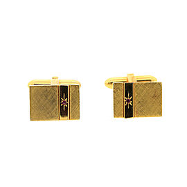 Vintage Christian Dior Brushed Goldtone Ruby Cufflinks