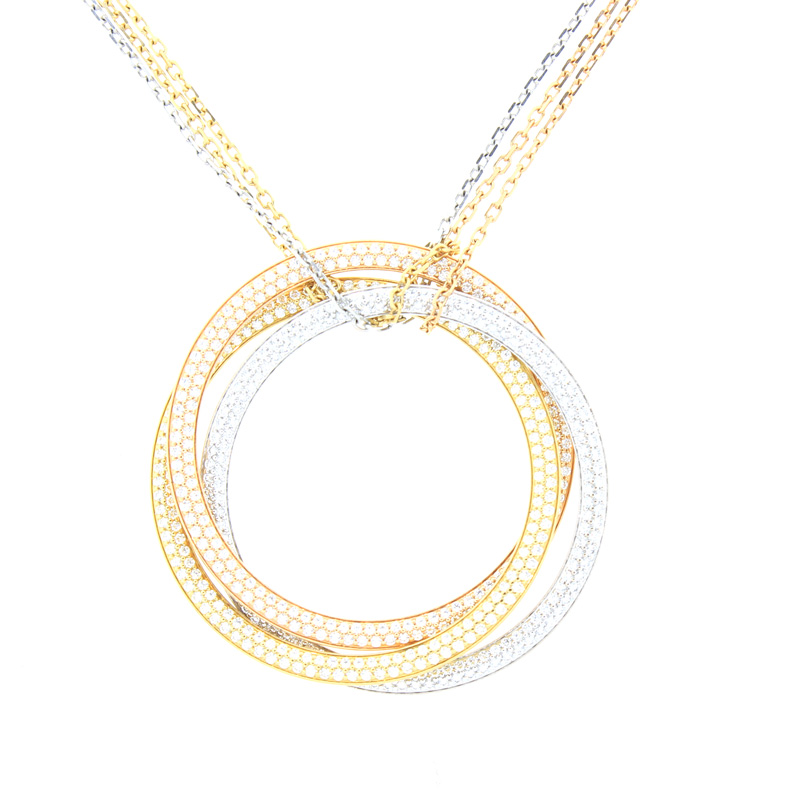 "Image of ""Cartier Trinity Necklace Large w/ Diamonds"""