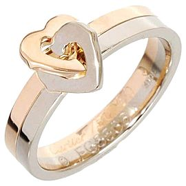 Cartier 18K White & Pink Gold Double Heart Ring
