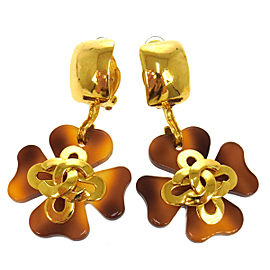 Chanel Vintage CC Logos Tortoiseshell Clover Motif Earrings