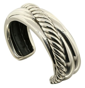 """Image of """"David Yurman Sterling Silver Large Sculpted Cable Wide Crossover Cuff"""""""