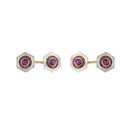 14K Yellow & White Gold Mens Two Tone Vintage Synthetic Star Ruby Cufflinks