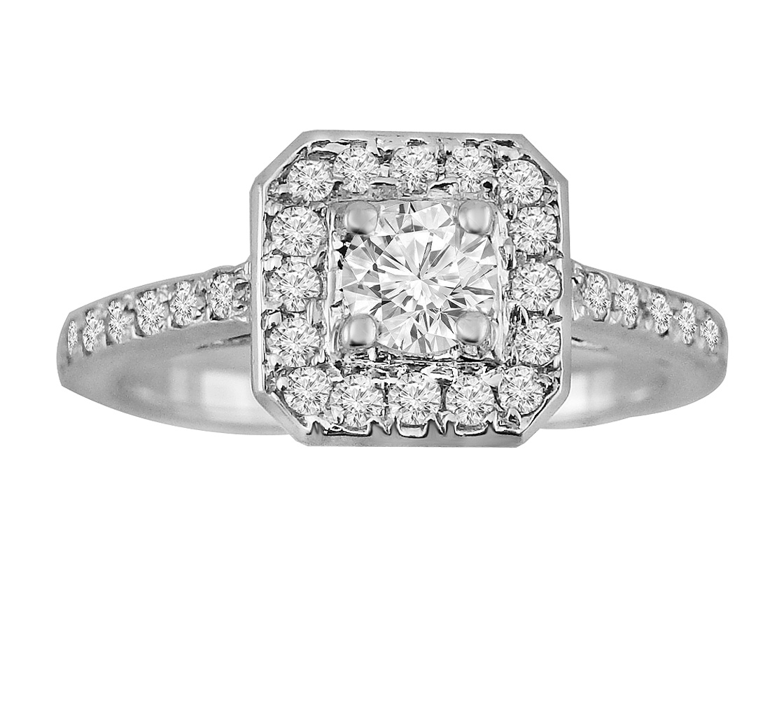 "Image of ""0.75ct Round Diamond 14k Wihte Gold Square Halo Engagement Ring"""