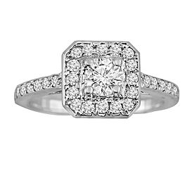 0.75ct Round Diamond 14k Wihte Gold Square Halo Engagement Ring