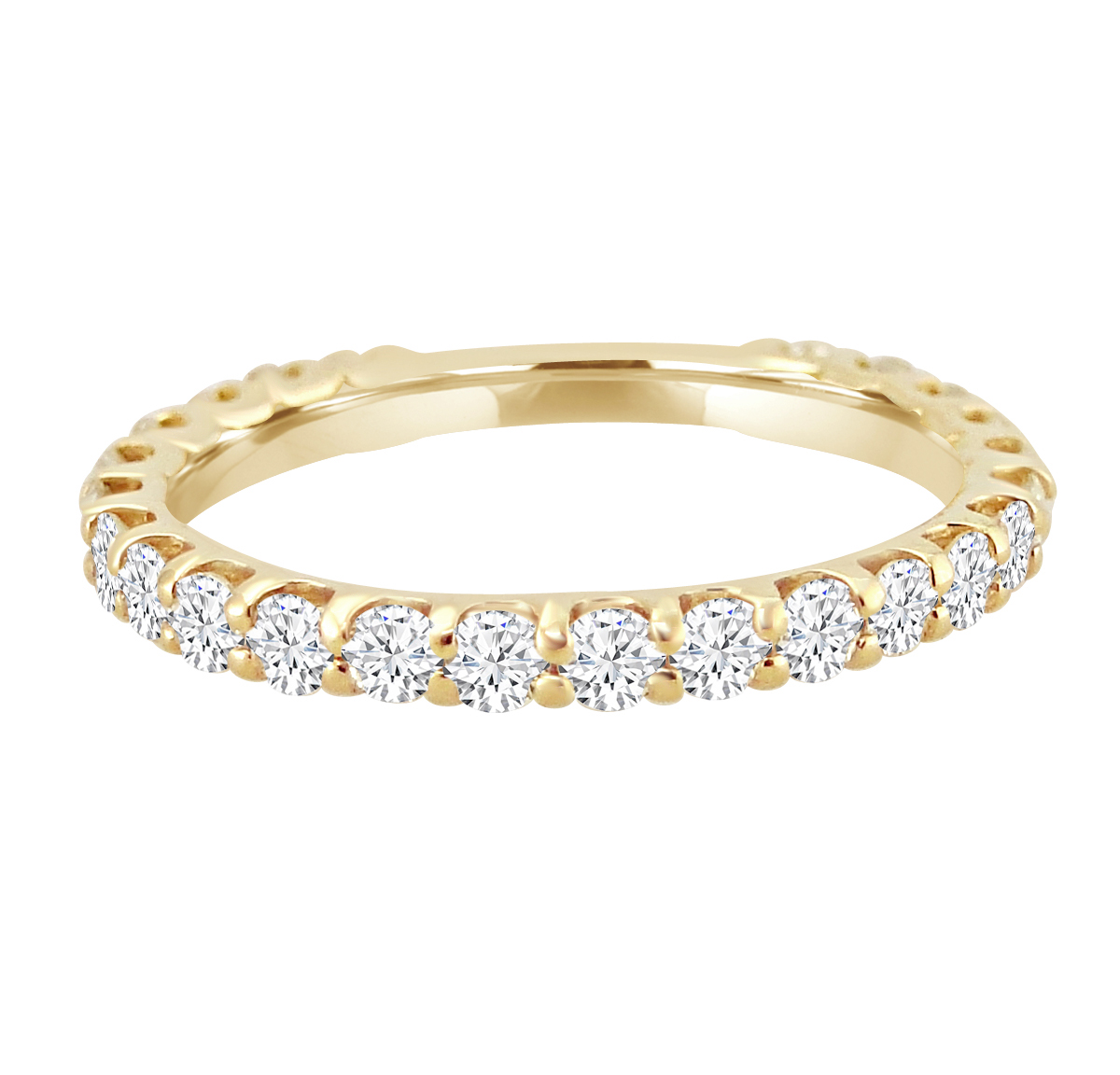 "Image of ""1.00ct Diamond 14k Yellow Gold Almost Eternity Wedding Band"""
