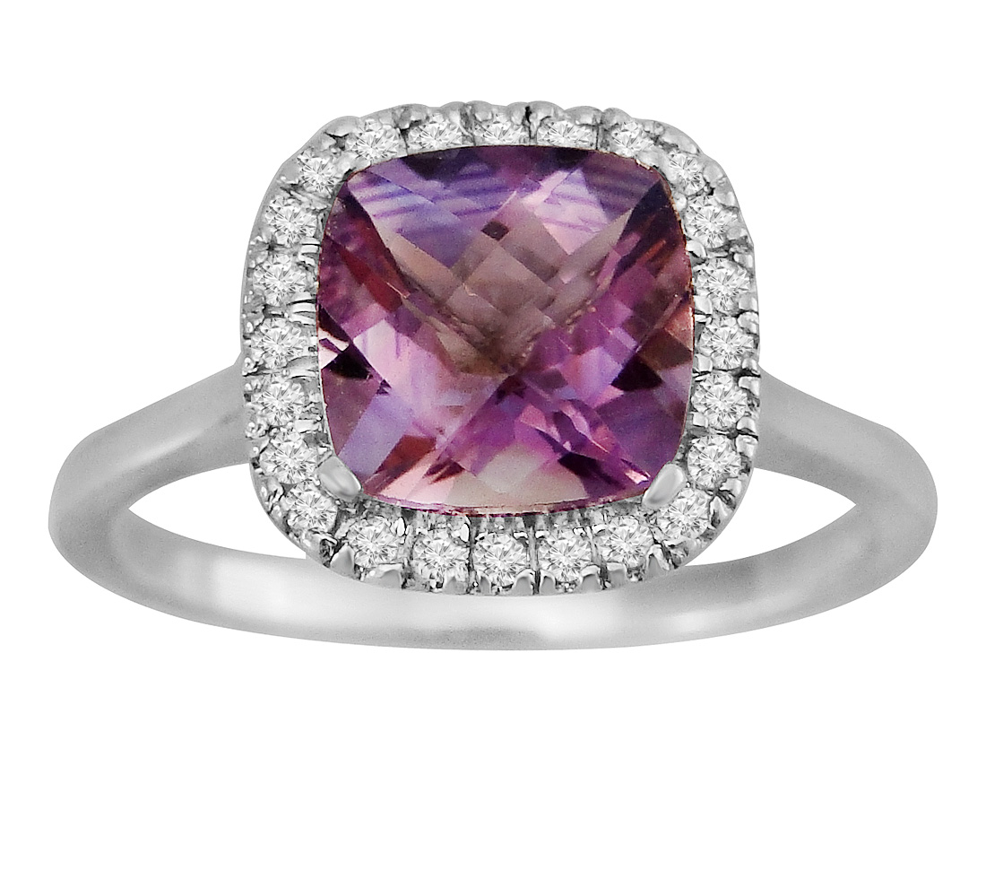 "Image of ""1.84ct Cushion Amethyst 7 Diamond 14k White Gold Square Halo Ring"""