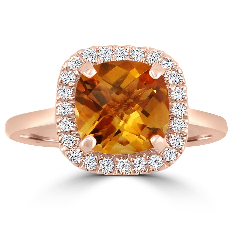 "Image of ""1.85ct Citrine Cushion & Diamond 14k Rose Gold Halo Ring"""