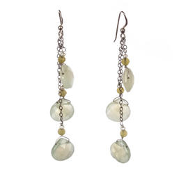 Handmade Pearl And Lemon Quartz Drop Earrings