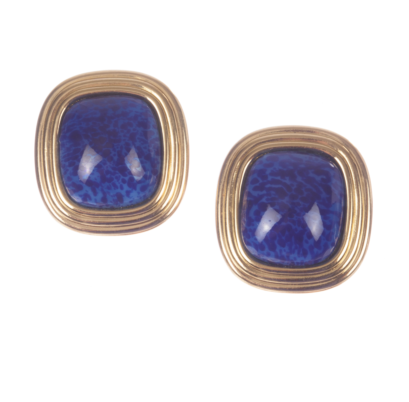 "Image of ""Christian Dior Faux Lapis Lazuli Murano Glass Cabochon Earrings"""