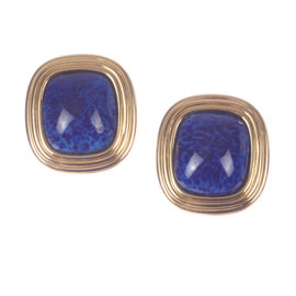 Christian Dior Faux Lapis Lazuli Murano Glass Cabochon Earrings