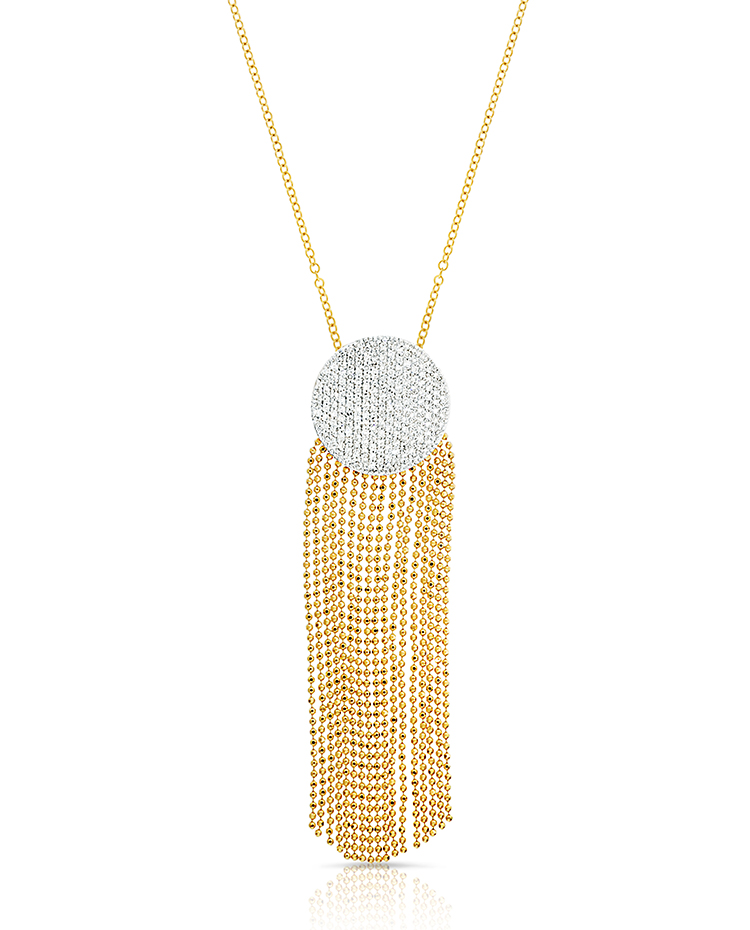"Image of ""Yellow Gold Diamond Large Infinity Tassel Necklace"""