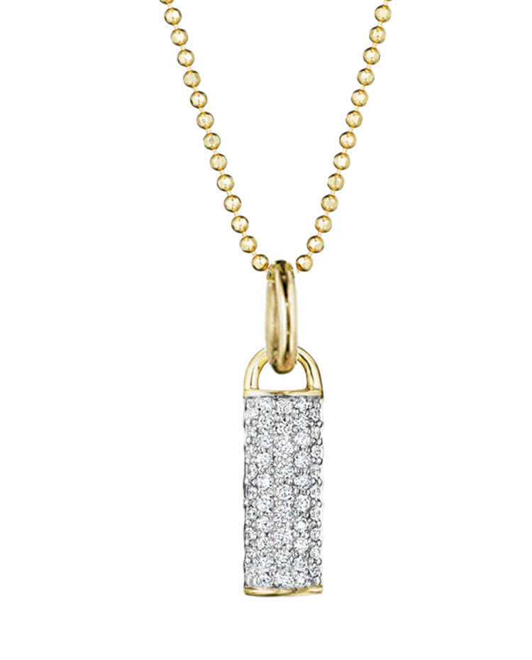 "Image of ""Yellow Gold and Diamond Bar Drop Necklace"""