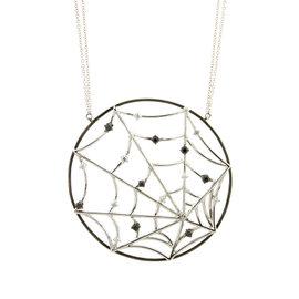 18k White Gold Salavetti Diamond Spider Web Necklace