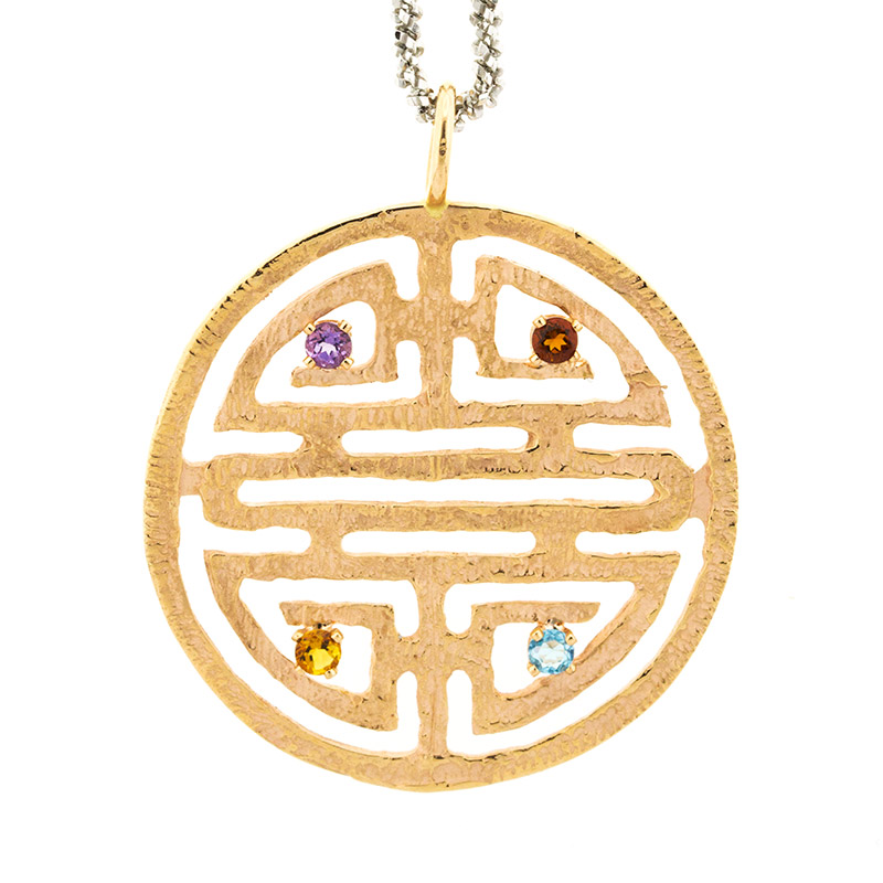 """Image of """"18k White And Pink Gold Salavetti Citrine, Blue Topaz Necklace"""""""
