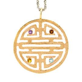 18k White And Pink Gold Salavetti Citrine, Blue Topaz Necklace