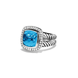 David Yurman Blue Topaz & 0.22ct Diamond Albion Ring Sz 7