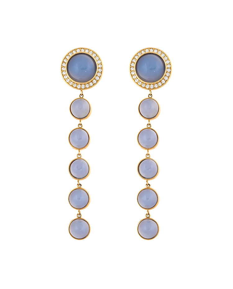 "Image of ""18K Yellow Gold Blue Chalcedony Stena Drop Earrings"""
