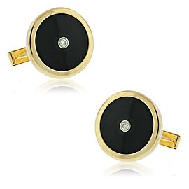 14K YELLOW GOLD ONYX AND DIAMOND CUFFLINKS