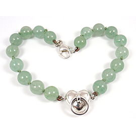 Tiffany & Co. Sterling Silver Aventurine Bead Ball Heart Bracelet