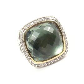 David Yurman Sterling Silver & 18K Yellow Gold Prasiolite Diamond Ring