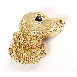 Tiffany & Co. 18K Gold Blue Sapphire Dog Textured 3D Pin Brooch