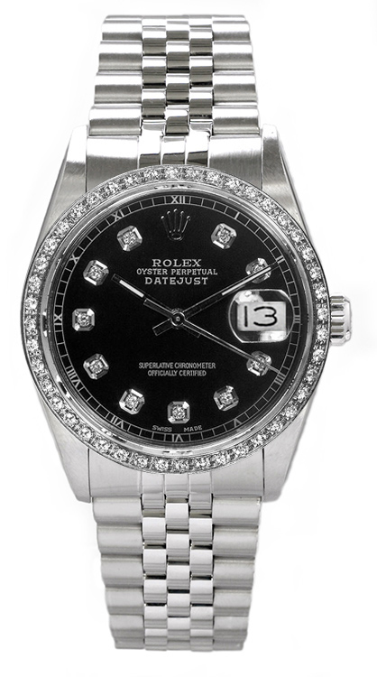 "Image of ""Rolex Men's Datejust Stainless Steel Custom Diamond Bezel & Black"""