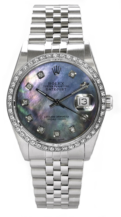 "Image of ""Rolex Men's Datejust Stainless Steel Custom Diamond Bezel & Dark"""