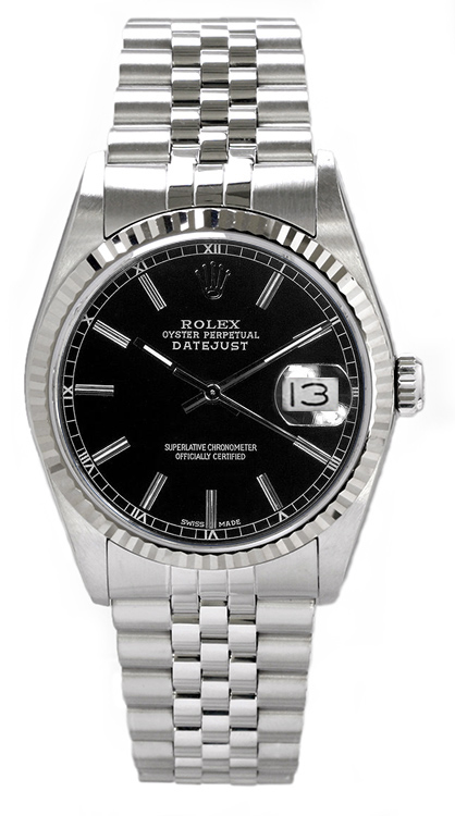 """Image of """"Rolex Men's Datejust Stainless Steel Black Index Dial Watch"""""""