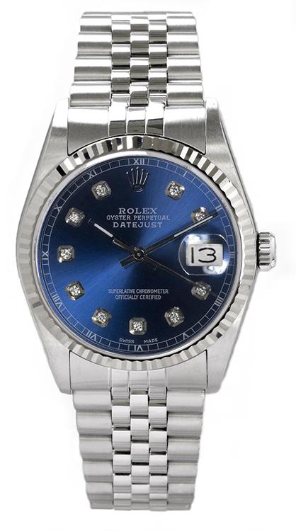 "Image of ""Rolex Men's Datejust Stainless Steel Custom Blue Diamond Dial Watch"""