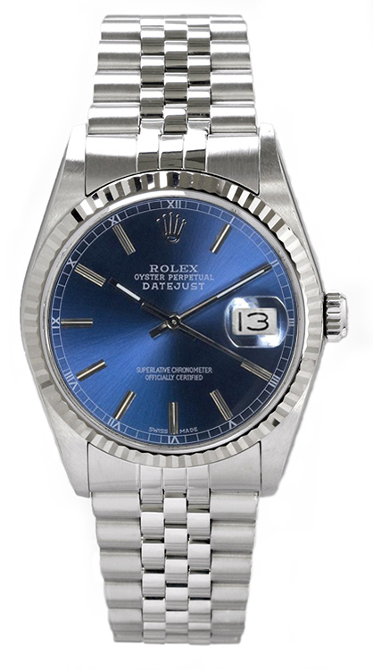 "Image of ""Rolex Men's Datejust Stainless Steel Blue Index Dial Watch"""