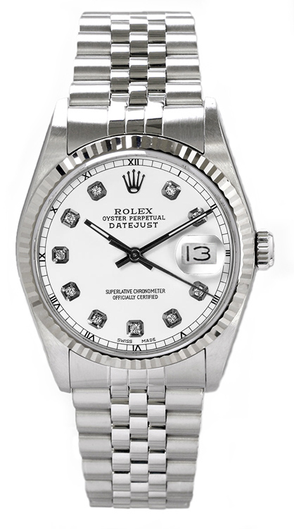 """Image of """"Rolex Men's Datejust Stainless Steel Custom White Diamond Dial Watch"""""""
