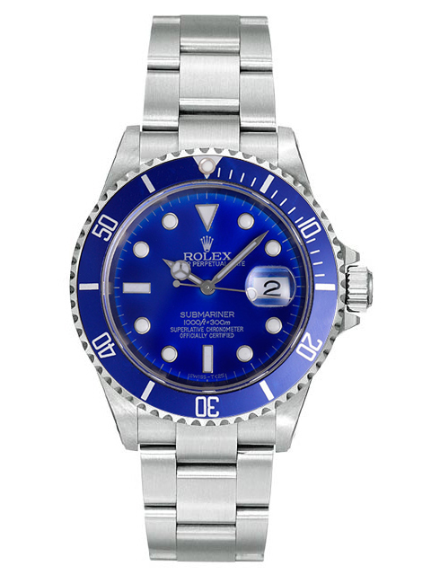 "Image of ""Rolex Submariner Steel 16610 Custom Blue Watch"""