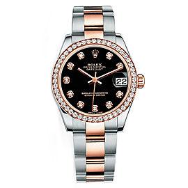 Rolex New Style Datejust Midsize Two Tone Custom Diamond Bezel & Diamond Dial on Oyster Bracelet P178271BDDO Watch