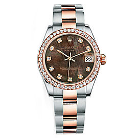 Rolex New Style Datejust Midsize Two Tone Custom Diamond Bezel & Diamond Dial on Oyster Bracelet P178271BMOPDDO Watch