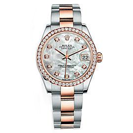 Rolex New Style Datejust Midsize Two Tone Custom Diamond Bezel & Diamond Dial on Oyster Bracelet P178271MOPDDO Watch