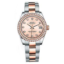 Rolex New Style Datejust Midsize Two Tone Custom Diamond Bezel & Diamond Dial on Oyster Bracelet P178271RDDO Watch