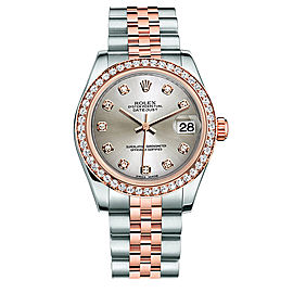 Rolex New Style Datejust Midsize Two Tone Custom Diamond Bezel & Diamond Dial on Jubilee Bracelet P178271SDDJ Watch