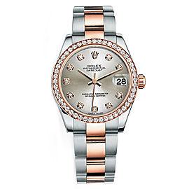 Rolex New Style Datejust Midsize Two Tone Custom Diamond Bezel & Diamond Dial on Oyster Bracelet P178271SDDO Watch